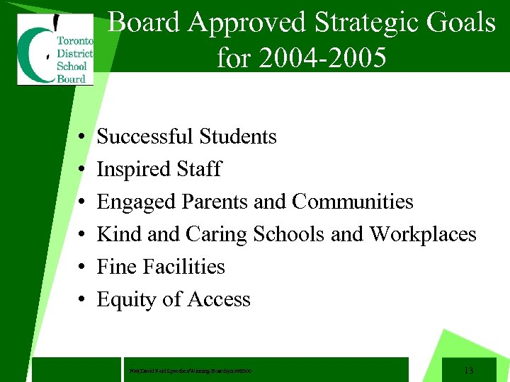 Board Approved Strategic Goals for 2004 -2005 • • • Successful Students Inspired Staff
