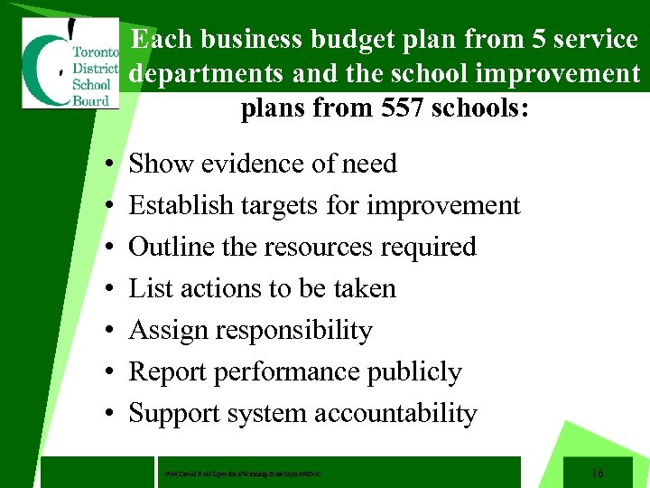 Each business budget plan from 5 service departments and the school improvement plans from