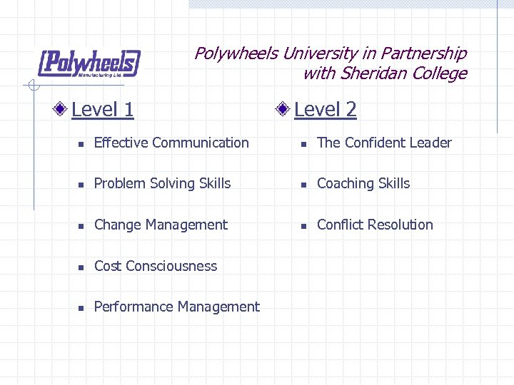 Polywheels University in Partnership with Sheridan College Level 1 Level 2 n Effective Communication