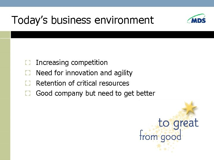 Today's business environment Increasing competition Need for innovation and agility Retention of critical resources