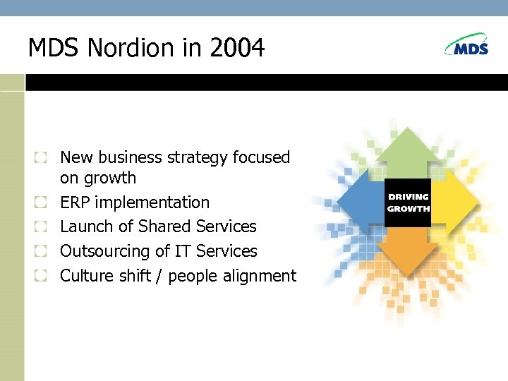 MDS Nordion in 2004 New business strategy focused on growth ERP implementation Launch of