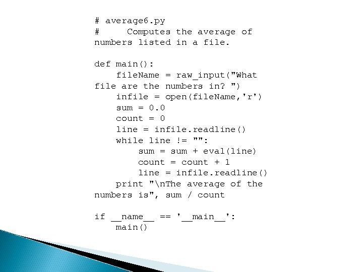 # average 6. py # Computes the average of numbers listed in a file.