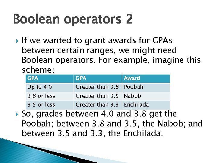 Boolean operators 2 If we wanted to grant awards for GPAs between certain ranges,