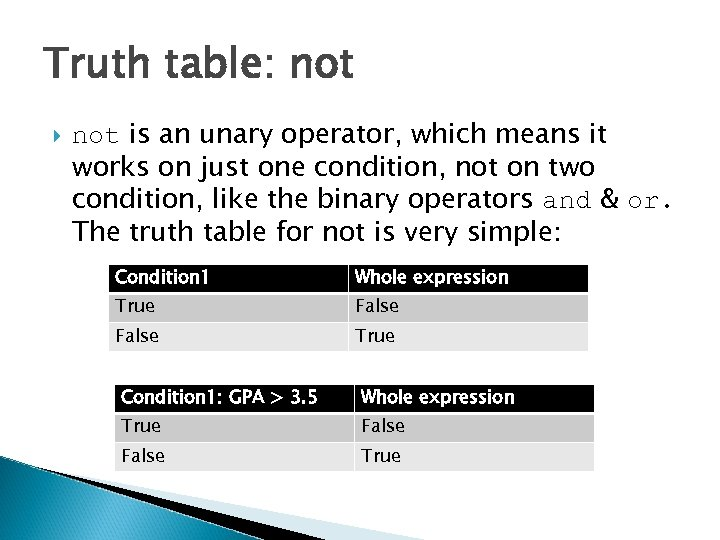 Truth table: not is an unary operator, which means it works on just one