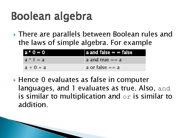 Boolean algebra There are parallels between Boolean rules and the laws of simple algebra.