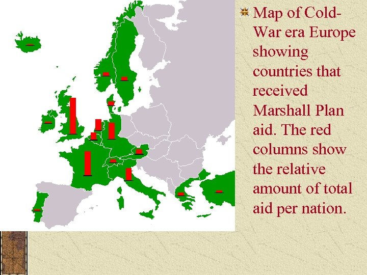 Map of Cold. War era Europe showing countries that received Marshall Plan aid. The