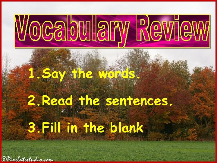 1. Say the words. 2. Read the sentences. 3. Fill in the blank