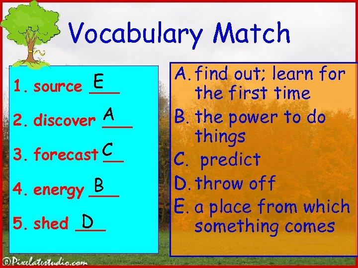 Vocabulary Match E 1. source ___ 2. discover A ___ 3. forecast C __