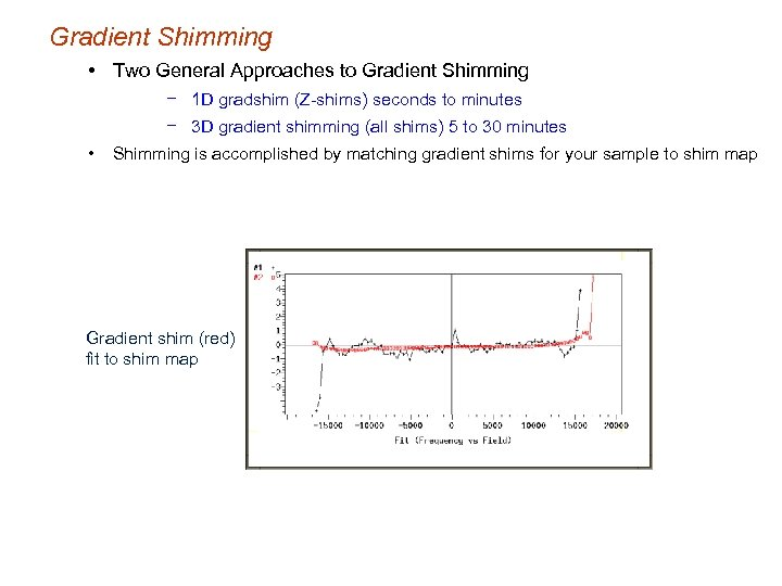 Gradient Shimming • Two General Approaches to Gradient Shimming − 1 D gradshim (Z-shims)