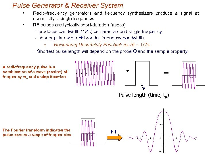 Pulse Generator & Receiver System • • Radio-frequency generators and frequency synthesizers produce a