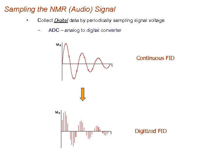 Sampling the NMR (Audio) Signal • Collect Digital data by periodically sampling signal voltage