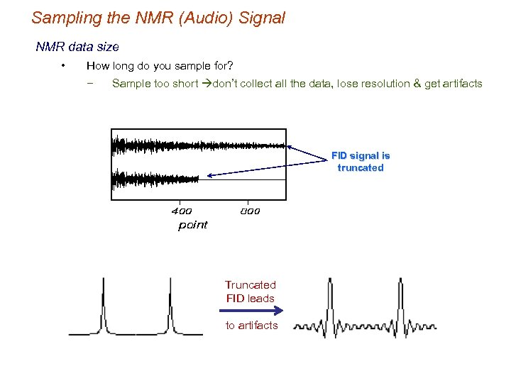 Sampling the NMR (Audio) Signal NMR data size • How long do you sample