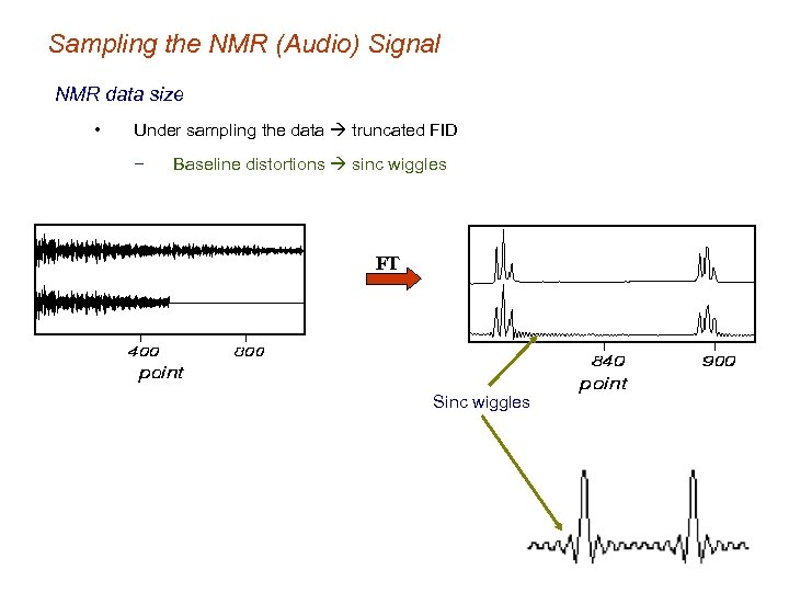 Sampling the NMR (Audio) Signal NMR data size • Under sampling the data truncated