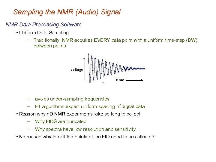 Sampling the NMR (Audio) Signal NMR Data Processing Software • Uniform Data Sampling −
