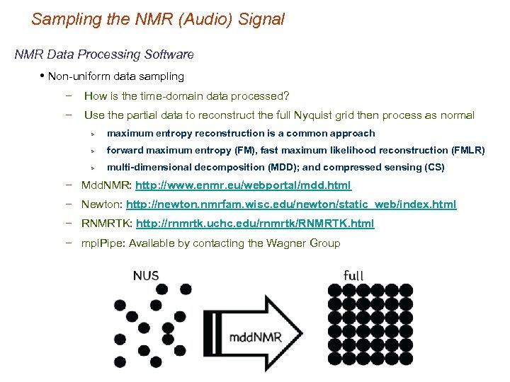 Sampling the NMR (Audio) Signal NMR Data Processing Software • Non-uniform data sampling −