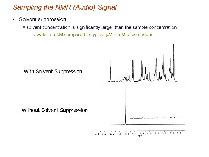 Sampling the NMR (Audio) Signal • Solvent suppression § solvent concentration is significantly larger