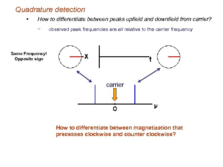 Quadrature detection • How to differentiate between peaks upfield and downfield from carrier? −