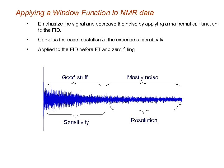 Applying a Window Function to NMR data • Emphasize the signal and decrease the