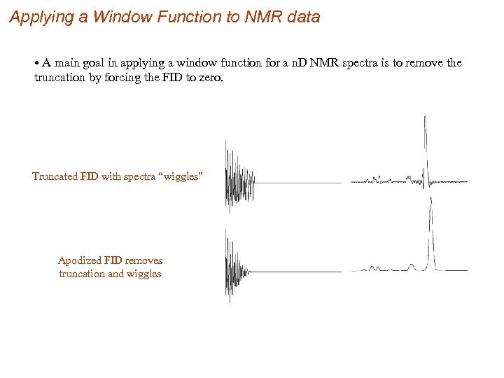 Applying a Window Function to NMR data • A main goal in applying a