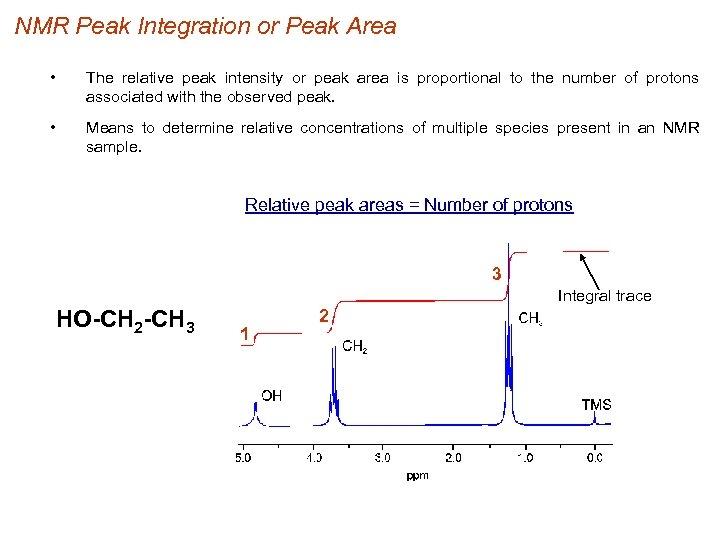 NMR Peak Integration or Peak Area • The relative peak intensity or peak area