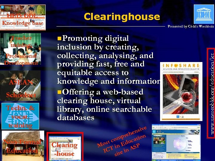Clearinghouse HED: ODL Knowledge base Professional Development ASEAN Schoolnet Techn. & vocat. training Non-Formal