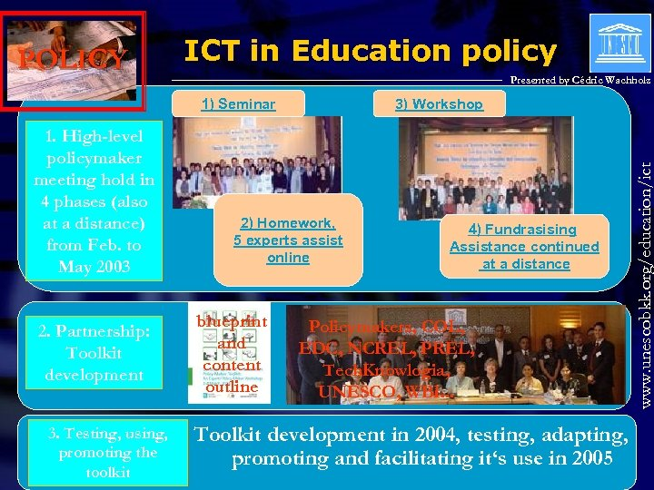 ICT in Education policy Presented by Cédric Wachholz 1) Seminar 1. High-level policymaker meeting