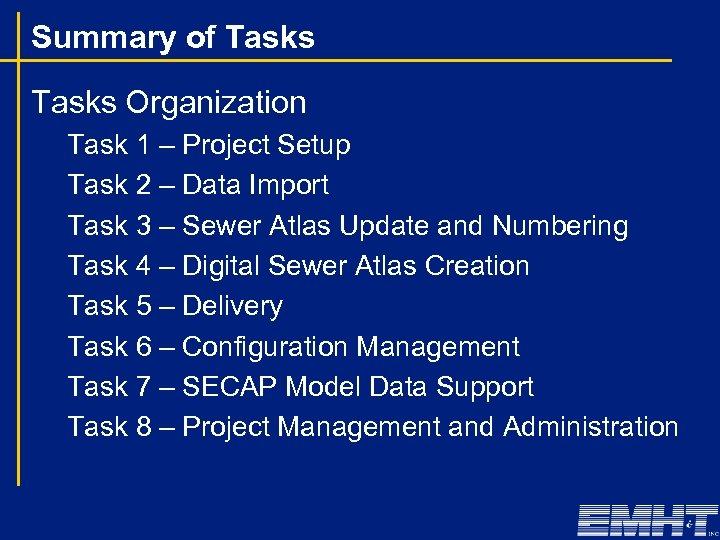 Summary of Tasks Organization Task 1 – Project Setup Task 2 – Data Import