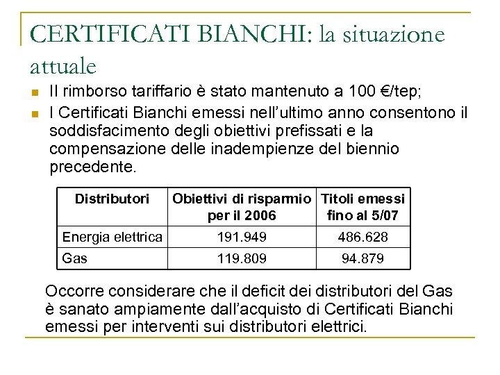 CERTIFICATI BIANCHI: la situazione attuale n n Il rimborso tariffario è stato mantenuto a