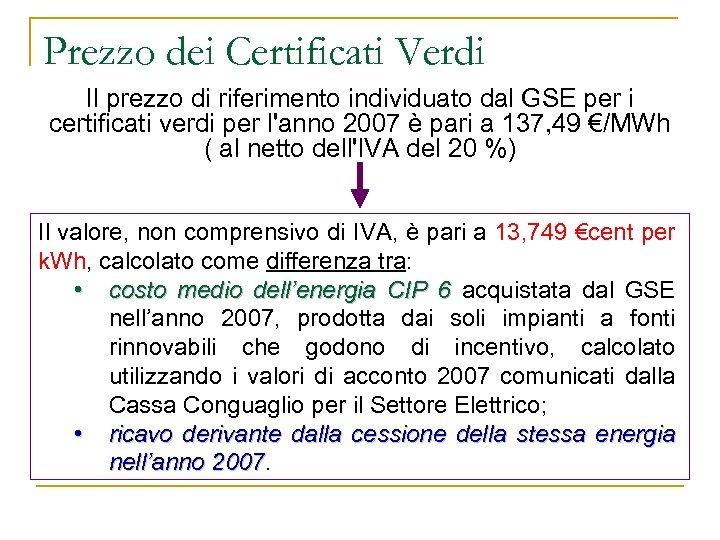 Prezzo dei Certificati Verdi Il prezzo di riferimento individuato dal GSE per i certificati