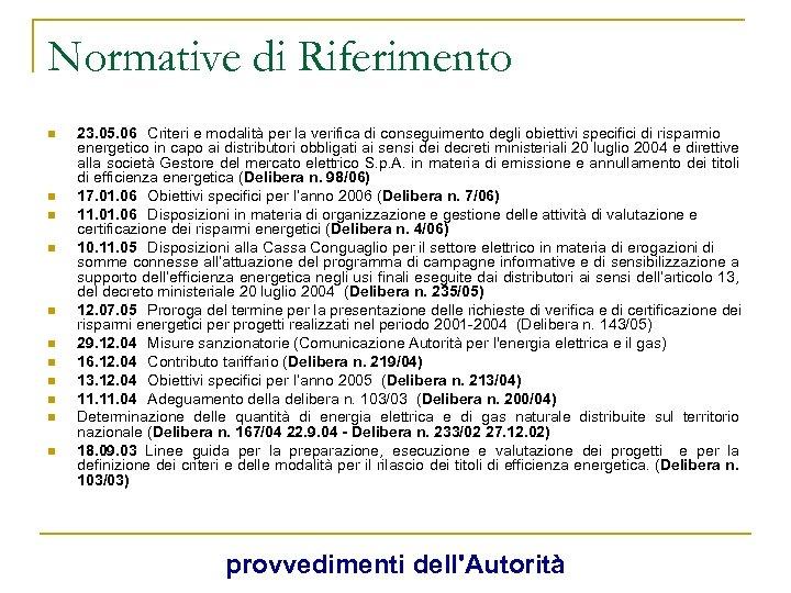 Normative di Riferimento n n n 23. 05. 06 Criteri e modalità per la