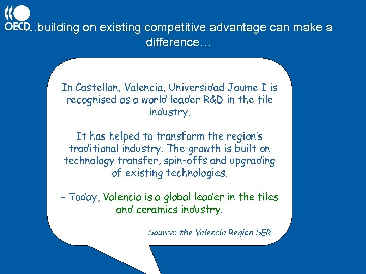 …building on existing competitive advantage can make a difference… In Castellon, Valencia, Universidad Jaume