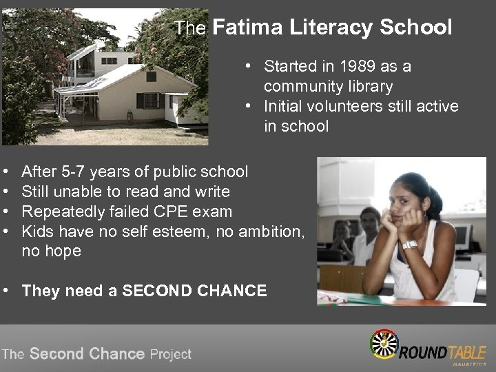 The Fatima Literacy School • Started in 1989 as a community library • Initial