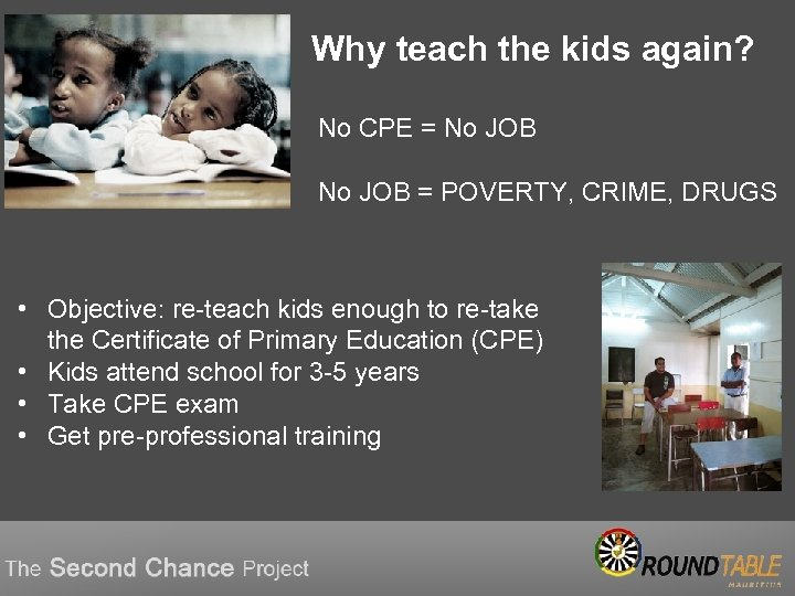 Why teach the kids again? No CPE = No JOB = POVERTY, CRIME, DRUGS
