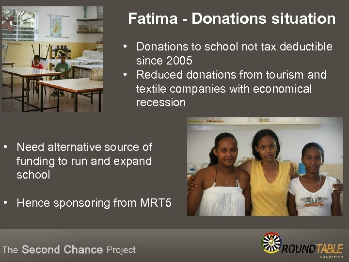 Fatima - Donations situation • Donations to school not tax deductible since 2005 •