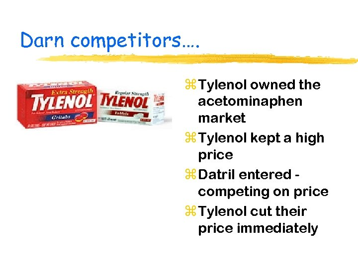 Darn competitors…. z Tylenol owned the acetominaphen market z Tylenol kept a high price