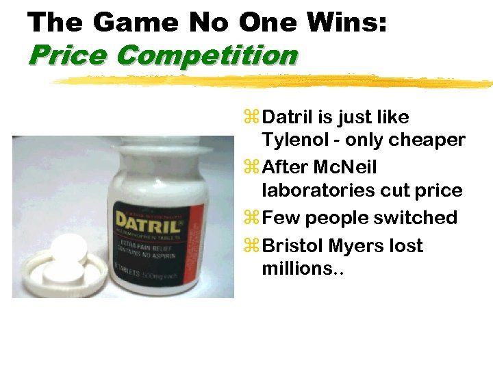 The Game No One Wins: Price Competition z Datril is just like Tylenol -