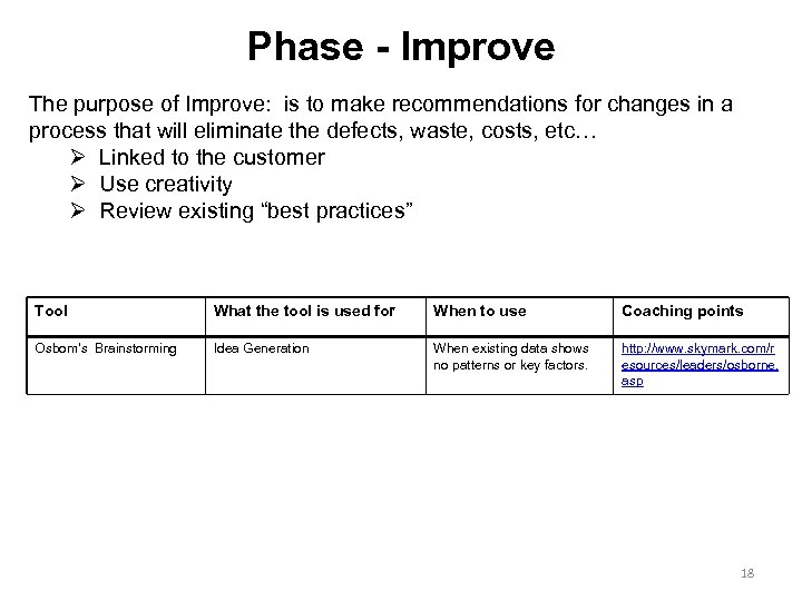 Phase - Improve The purpose of Improve: is to make recommendations for changes in