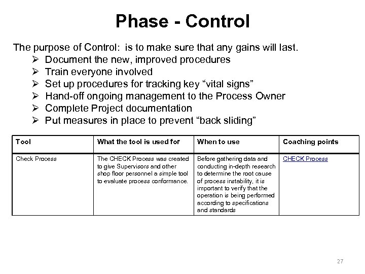 Phase - Control The purpose of Control: is to make sure that any gains