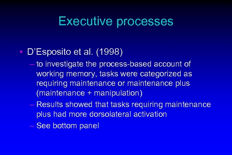 Executive processes • D'Esposito et al. (1998) – to investigate the process-based account of