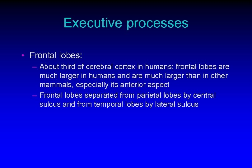 Executive processes • Frontal lobes: – About third of cerebral cortex in humans; frontal