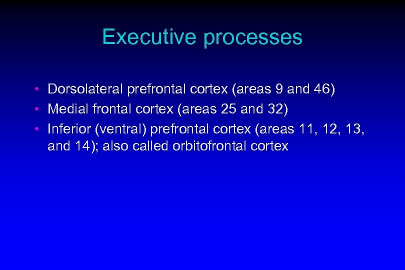 Executive processes • Dorsolateral prefrontal cortex (areas 9 and 46) • Medial frontal cortex