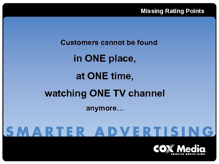 Missing Rating Points Customers cannot be found in ONE place, at ONE time, watching