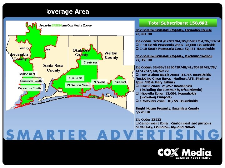 2006 Total Coverage Area Total Subscribers: 158, 692 Areas in GREEN are Cox Media