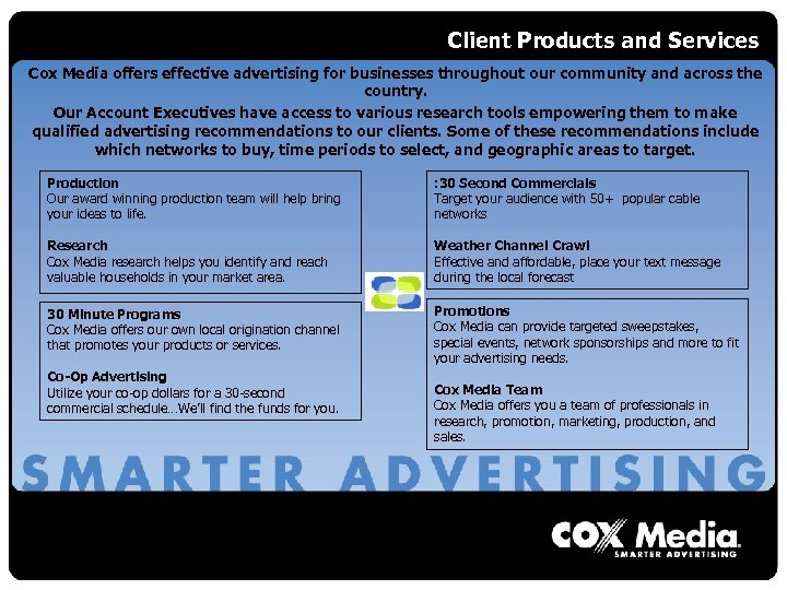 Client Products and Services Cox Media offers effective advertising for businesses throughout our community