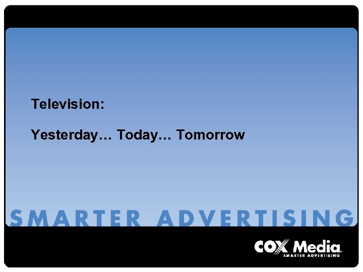 Television: Yesterday… Tomorrow