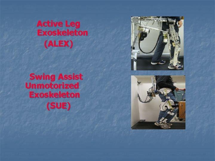 Active Leg Exoskeleton (ALEX) Swing Assist Unmotorized Exoskeleton (SUE)
