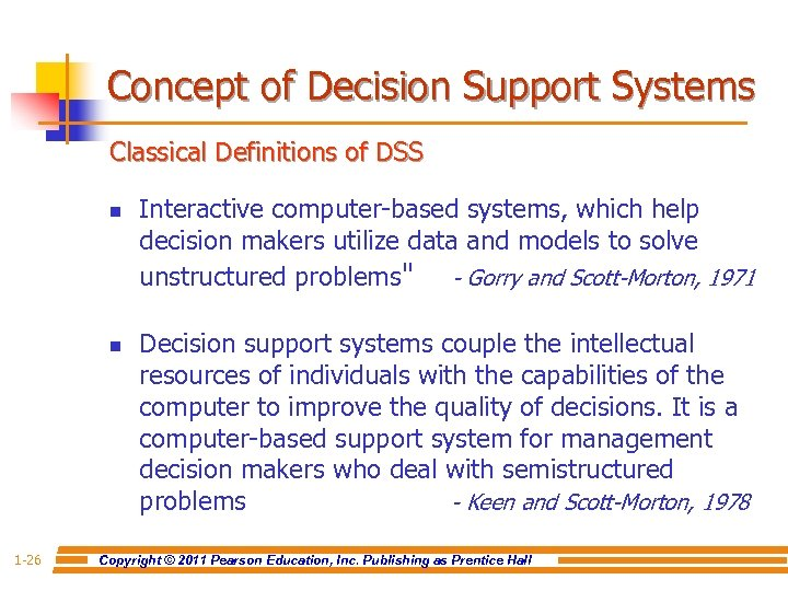 Concept of Decision Support Systems Classical Definitions of DSS n n 1 -26 Interactive