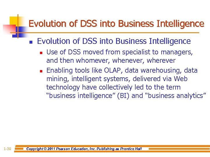 Evolution of DSS into Business Intelligence n n 1 -30 Use of DSS moved