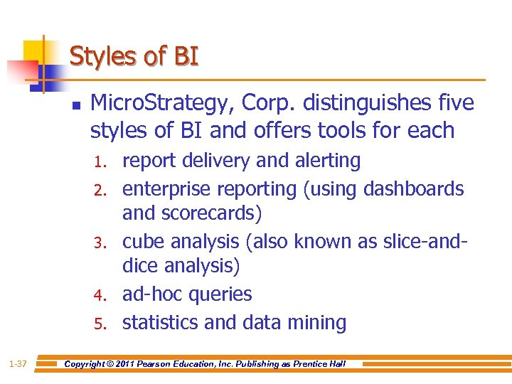 Styles of BI n Micro. Strategy, Corp. distinguishes five styles of BI and offers