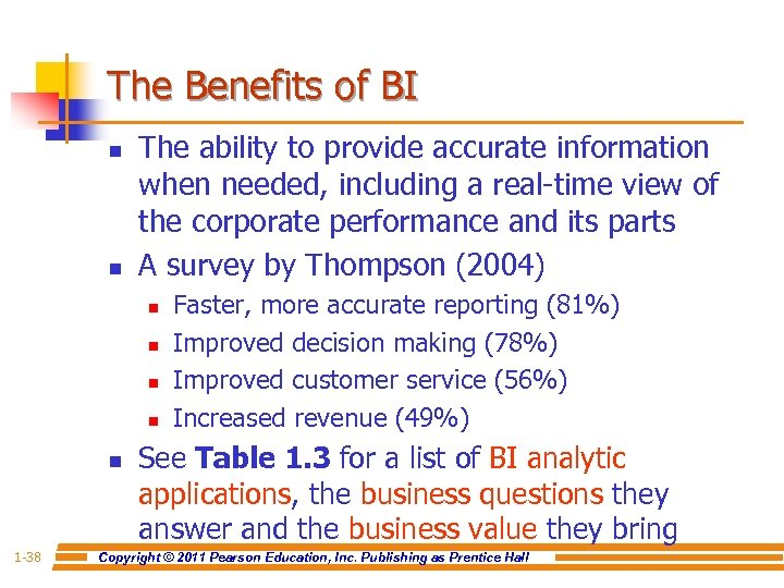 The Benefits of BI n n The ability to provide accurate information when needed,